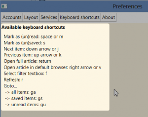 Menere 0.8 - Keyboard shortcuts